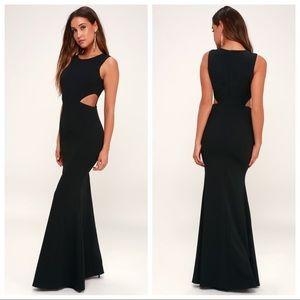 Lulu's, Utterly Smitten Black Cutout Maxi Dress XS
